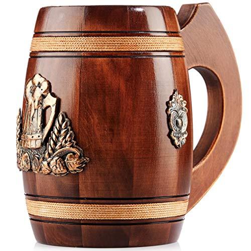 Gran Jarra de Cerveza de Madera – Roble – Confección Artesana con Materiales de Calidad – Revestida con Metal – Resistente – Duradera