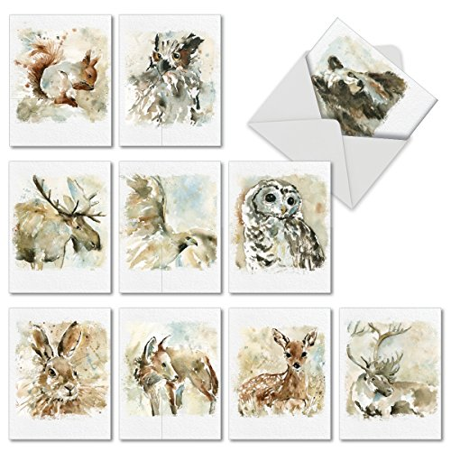 10 Watercolor Wildlife Blank Note Cards with Envelopes 4 x 5.12 inch - Assorted Greeting Cards with Watercolored Illustrations of Animals for All Occasions M6629OCBsl - NobleWorks