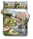 Bestsure Juego de funda de edredón de dinosaurio jurásico con diseño de dibujos animados para niños, poliéster, P06., Single-135x200cm-1.2M bed