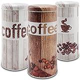 com-four 3X Kaffeepaddose - Kaffeedose für Kaffeepads - Aufbewahrungsbehälter für Kaffeepads - Dekodose im Vintage Look (3 Stück - Set Vintage)
