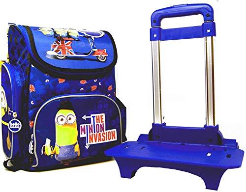 Minions - 2 tig. Super Schulranzen/Schulrucksack (35,5 x 27,5 x 16 cm) Set mit Extra Trolley - Hello London - The Minion Invasion - Motiv: Stuart & Kevin & Bob - für Schule, Sport + Freizeit