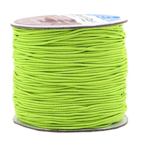 Mandala Crafts 1mm Elastic Cord Stretchy String for Bracelets, Necklaces, Jewelry Making, Beading, Masks; 109 Yards Lime Green