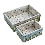 Tejido a mano cesta del almacenaje de la casa for guardar la caja de papel decorativo tejido hecho a mano la cesta del almacenaje y el trapo de la guarnición cesta Organización Sala Baño Basket Set 2