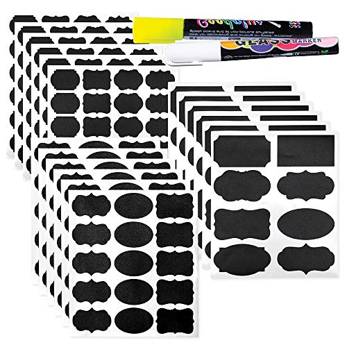 Chalkboard Labels: 112-pcs Assorted Shapes & Sizes, Reusable & Waterproof Chalkboards Sticker Labels for Mason Jars, Kitchen/Pantry and Office Organizing Comes with Easy to Ink White & Yellow Markers