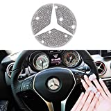 Bling Steering Wheel Emblem Stickers for Mercedes Benz,Car Accessories Parts Logo Caps Badge Decals Cover Interior Decoration for W205 W212 C117 A B E S Cla Cls Gla Glc Glk Gls for Women(Silver/49mm)