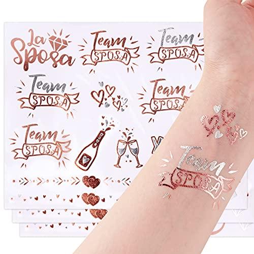 FLOFIA 3 Fogli Tatuaggi Temporanei Sposa Team Amica Sposa Tatuaggi Addio al Nubilato Gadget Adesivi per Sposa Amiche Team Sposa Bride per Matrimonio Nozze Doccia Nuziale Notte Feste Addio al Nubilato