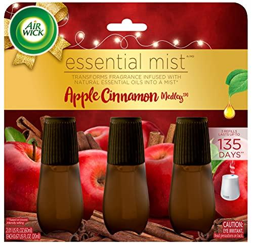 Air Wick Essential Mist Refill, 3 ct, Apple Cinnamon Medley, Essential Oils Diffuser, Air Freshener, Fall scent, Fall decor