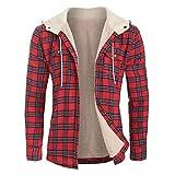ZAFUL Chaqueta con capucha para hombre, manga larga, con bolsillo en el pecho, forro polar, con cordón, para otoño e invierno rojo-1 M