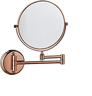 MXD Mirror Free Punching Bathroom Mirror Wall Mounted Mirror Bathroom Folding Double Sided Magnifier Rose Gold (Size : S)