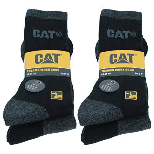 Caterpillar CAT Herren Thermosocken/Arbeitssocken wahlweise 4|6|8 Paar in Schwarz und/oder Grau, 41-45, (41-45, 4 Paar Schwarz/Anthrazit Mix)