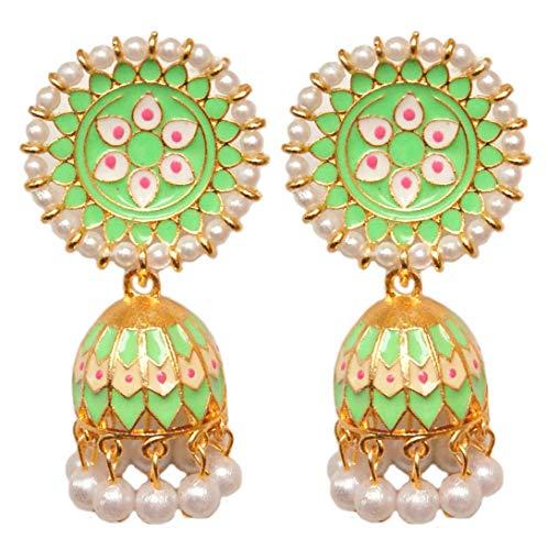 Pahal - Pendientes tradicionales de estilo jhumka de color verde claro con esmalte de oro pintado con perlas indias Bollywood para novias para mujeres