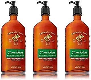 Bath & Body Works Aromatherapy Stress Relief Eucalyptus Spearmint Lotion 6.7 Fl Oz Each (3 Pack)