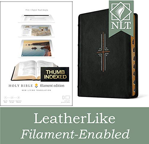 Filament Bible NLT (LeatherLike, Black, Indexed): The Print+Digital Bible