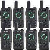 Retevis RT618 Mini Walkie Talkies para Adultos, PMR446 Walkie Talkie Recargable Largo Alcance con PTT Dual, Cable de Carga USB Emergencia Radio de 2 Vías para Club (Negro, 8 Piezas)