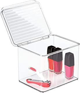 mDesign Small Makeup Storage Organizer Box, Lid - for Bathroom Vanity, Countertops, Drawers - Holds Blenders, Eyeshadow Palettes, Lipstick, Lip Gloss, Makeup Brushes - 6.6