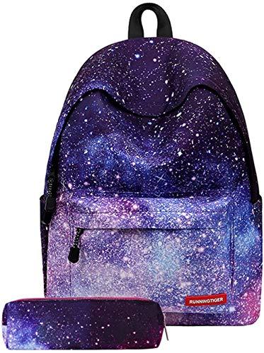 Mr. Right Schulrucksack Galaxy Muster Schulranzen Mädchen Teenager Reise Rucksack Schultaschen Backpack Daypacks mit Kleine Täschchen (01)
