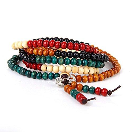 Romote multicolor budismo redondo de los granos de rezo de madera Pulsera Mala meditación para la Unisex