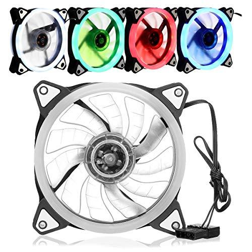 MING-MCZ Duradero Caja de la PC del Ordenador Ventilador del disipador de Calor del refrigerador de 120mm Ultra silencioso 4 de luz LED de Color Fácil de Montar (Color : White)