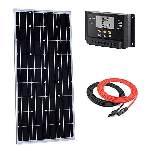 Giosolar Kit Panneau Solaire Mono 100 W 12 V avec contrôleur de Charge LCD 20 A + câble Rouge/Noir pour Bateau RV