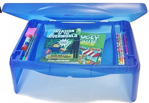 """Price comparison product image Kids Folding 17"""" x 11"""" Lap Desk with Storage - Blue - Durable Lightweight Portable Laptop Computer Children's Desks for Homework or Reading. No Assembly Required."""
