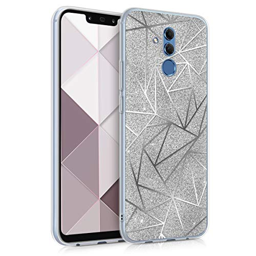 kwmobile Cover Compatibile con Huawei Mate 20 Lite - Back Case Custodia in Silicone TPU Cover Trasparente Geometrie Brillanti Argento