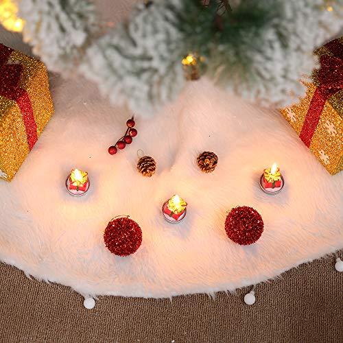 albero di natale bianco 150 cm Gonna Albero di Natale 150cm Bianco Base Albero Natale in Peluche Pannello Esterno Tappeto per Base Dell'Albero di Natale Decorazione Natalizia (150 CM)
