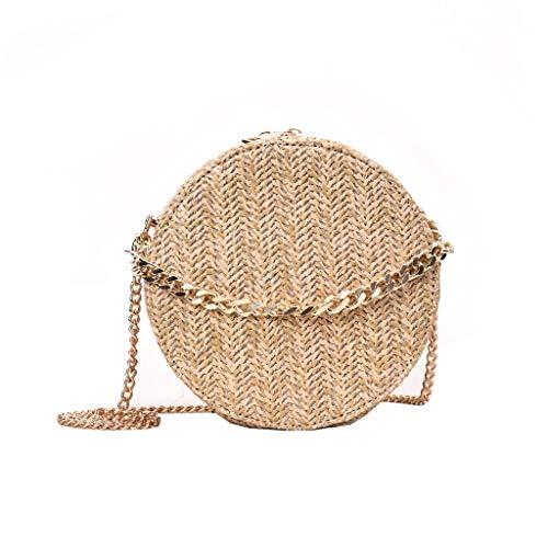 NMERWT Mode Damen Tasche Runde Form Quaste Weave Bag Damen Schultertasche Stroh Eimer Tasche Tasche Casual Handtasche