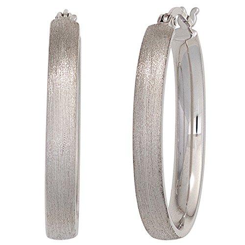 JOBO Creolen oval 925 Sterling Silber rhodiniert oval mattiert Ohrringe