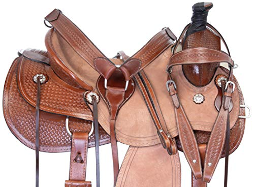 "Acerugs 15"" 16"" 17"" 18' Western Tooled Ranch Roping Pleasure Horse Saddle TACK Set Leather (16)"