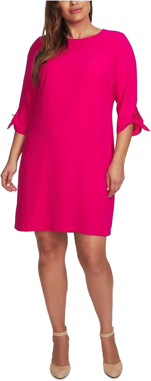 CeCe Sportswear Women's 3/4 Tie Sleeve Moss Crepe Shift Dress