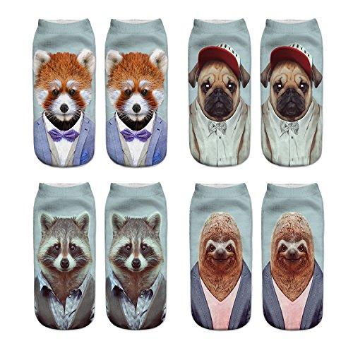 Danial Women Girls Funny Novelty Crazy Cute 3D Animals Dapper Pattern Casual Ankle Socks Value Pack (Ailurus Fulgens-dog-Palm Civet-sloth)