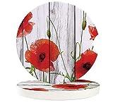 JHLP 2 4 6pcs/Set Ceramic Car Coaster Waterproof Vintage Wood Red Flowers Poppy Car Cup Drink Mat Car Decoration Accessories-4_PCS