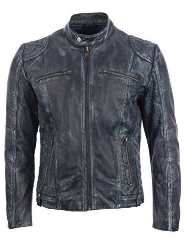 Aviatrix Herren Echtleder Fashion Biker Jacke (XF7Z)