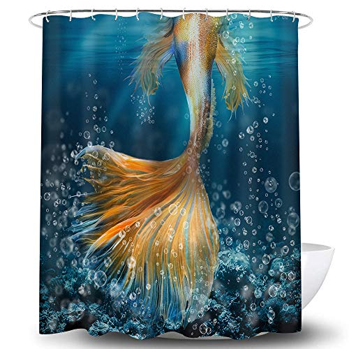 Whim-Wham Mermaid Tail Shower Curtain Fairy Tale Fish Scales Bubbles Ocean Sea Goldfish Reef Blue Yellow Fashion Bathroom Decor Curtain Set with 12 Hooks.