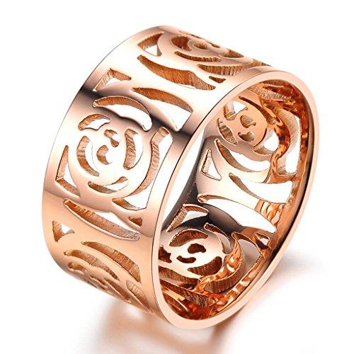 Infinity U acero inoxidable de oro rosa niña/anillo Ladies hueco Flor Rose compromiso confíes anillo para mujer anillo tamaño 49 A 57 regalo con regalo bolsa