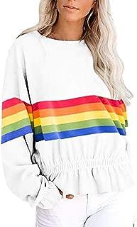Autumn Rainbow Print Striped Sweatshirt Womens Long Sleeve Tops Ruffles Hem Blouse Pullover