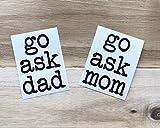Go Ask Mom and Go Ask Dad Set de calcomanías para copas de vino, calcomanías para taza de café, regalo DIY para mamá, regalo para papá | Paternidad | El mejor regalo para tu amigo amante familiar