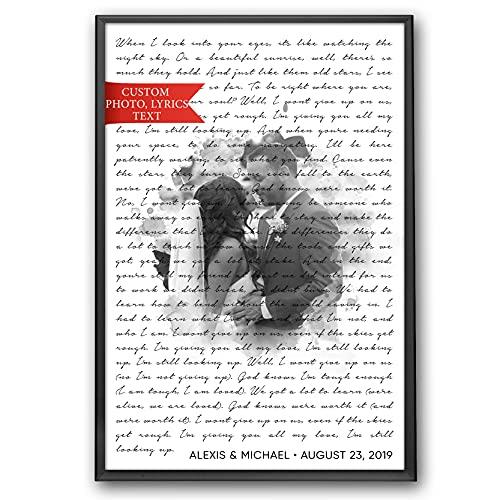 SANTANNA Personalized Music Lyrics Song Prints Wall Art Decoration (Classic Love & Favorite Song Anniversary)