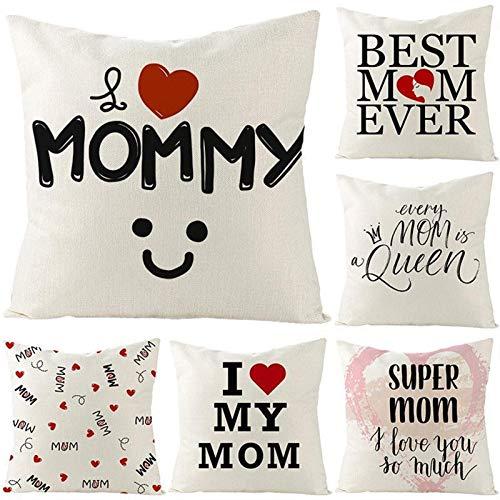 Rcsinway Fundas de almohada para el día de la madre, creativas y a la moda, de lino, para sofá, 45 x 45 cm, 6 unidades