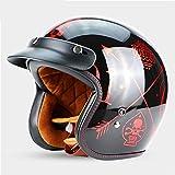 PURROMM Casco Moto Open Face Helmet-Harley Visor Eaves Casco Protettivo UV Half Casco Retro DOT 3/4 Casco Adulto,S