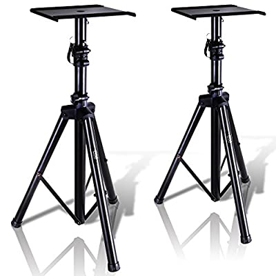 "Pyle Dual Studio Monitor 2 Speaker Stand Mount Kit - Heavy Duty Tripod Pair and Adjustable Height from 34.0"" to 53.0"" w/ Metal Platform Base - Easy Mobility Safety PIN for Structural Stability PSTND32 from Sound Around"