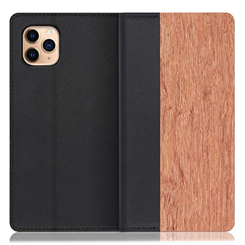 LOOF Nature iPhone 11 Pro Max ケース 手帳型 カバー 天然木 本革 ウッド 手帳型ケース 手帳型カバー 携帯ケース 携帯カバー スマホケース スマホカバー ベルト無し 木製 スタンド機能付き カード収納 カードポケット (花梨