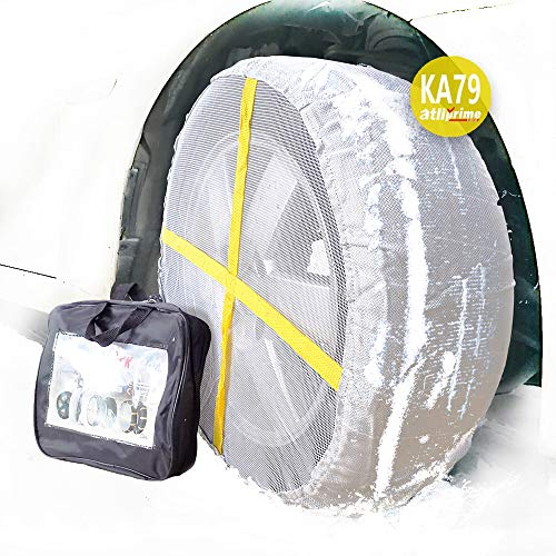 atliprime 2pcs Anti-Skid Safety Ice Mud Tires Snow Chains Auto Snow Chains Fabric Tire Chains Auto Snow Sock on Ice and Snow Road Winter Traction Aid Snow/Ice/Slush Antiskid Car Truck SUV (SC-KA79)