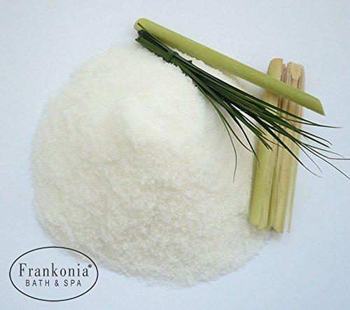 Lashuma Sauna Salz Lemongrass Meersalz mit Jojobaöl, Körperpeeling 400 g