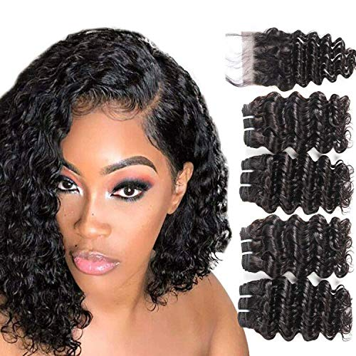 FASHION LINE Brazilian Deep Wave with Lace Closure 4 Bundles Deep Curly Human Hair With Closure 8inch Unprocessed Virgin Hair Extensions 50g