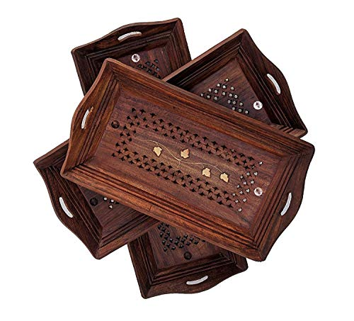 Bandeja de servir con asas, bandeja de servir para servir y bandeja para servir para comer bandeja y platos de madera Sheesham Crafts (marrón) Juego de 3