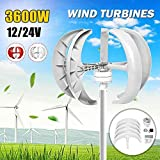 zhangchao 3600W Wind Turbine Generator,Controller 12V 24V 48V 5 Blades Lantern Vertical Axis Permanent Magnet Generator Solar Wind Power Parts,White,48v