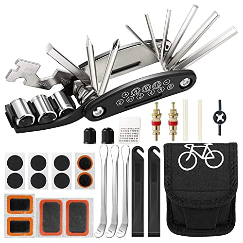 LQKYWNA Juego De Herramientas Reparación Bicicletas Portátiles Multifuncionales En Kit Neumáticos Bicicleta Bolsa Sillín para Montaña Carretera
