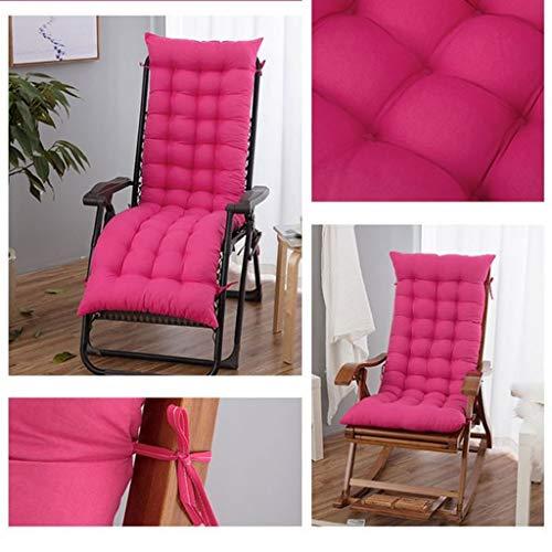 Ademende Sweat Recliner stoel kussen, verstelbare riem anti-slip stoel kussen voor schommelstoel bamboe stoel lounge stoel rug kussen 48x155Cm(19x61Inch) roosrood