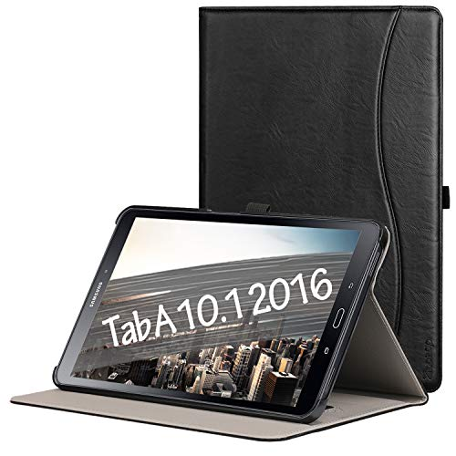 Ztotop Case for Samsung Galaxy Tab A 10.1(2016 NO S Pen Version) - Leather Folio Cover for Samsung 10.1 Inch Tablet SM-T580 T585 with Auto Wake/Sleep and Card Slots, Multiple Viewing Angles,Black